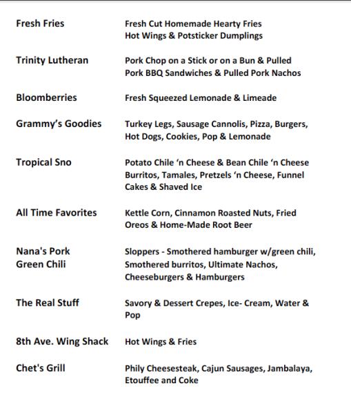 2013 Blues Jam Food Court Vendors